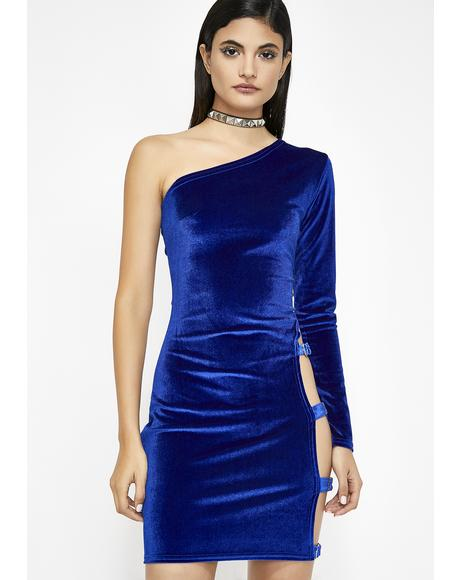 Buckle Up Velvet Dress