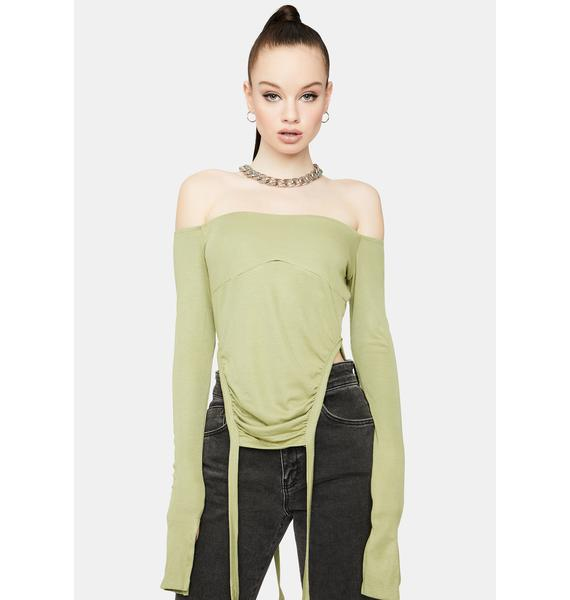 Olive To The Top Ruched Crop Top
