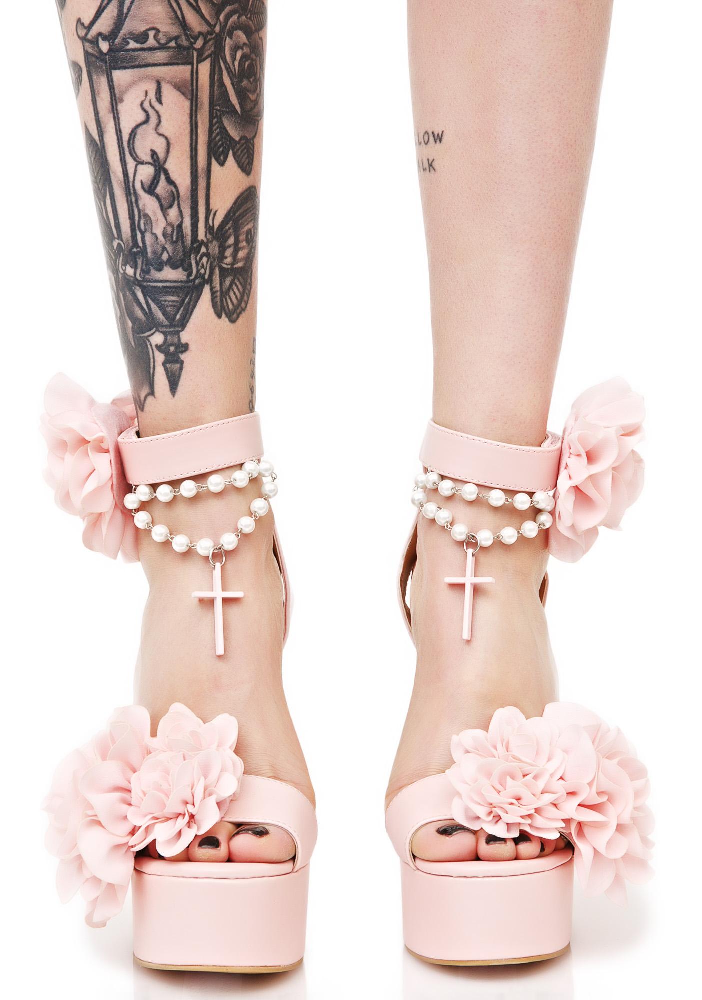 Sugar Thrillz Rosary Cross Pink Heels