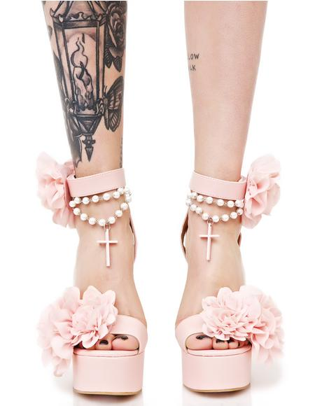 Blush Rosary Platform Heels