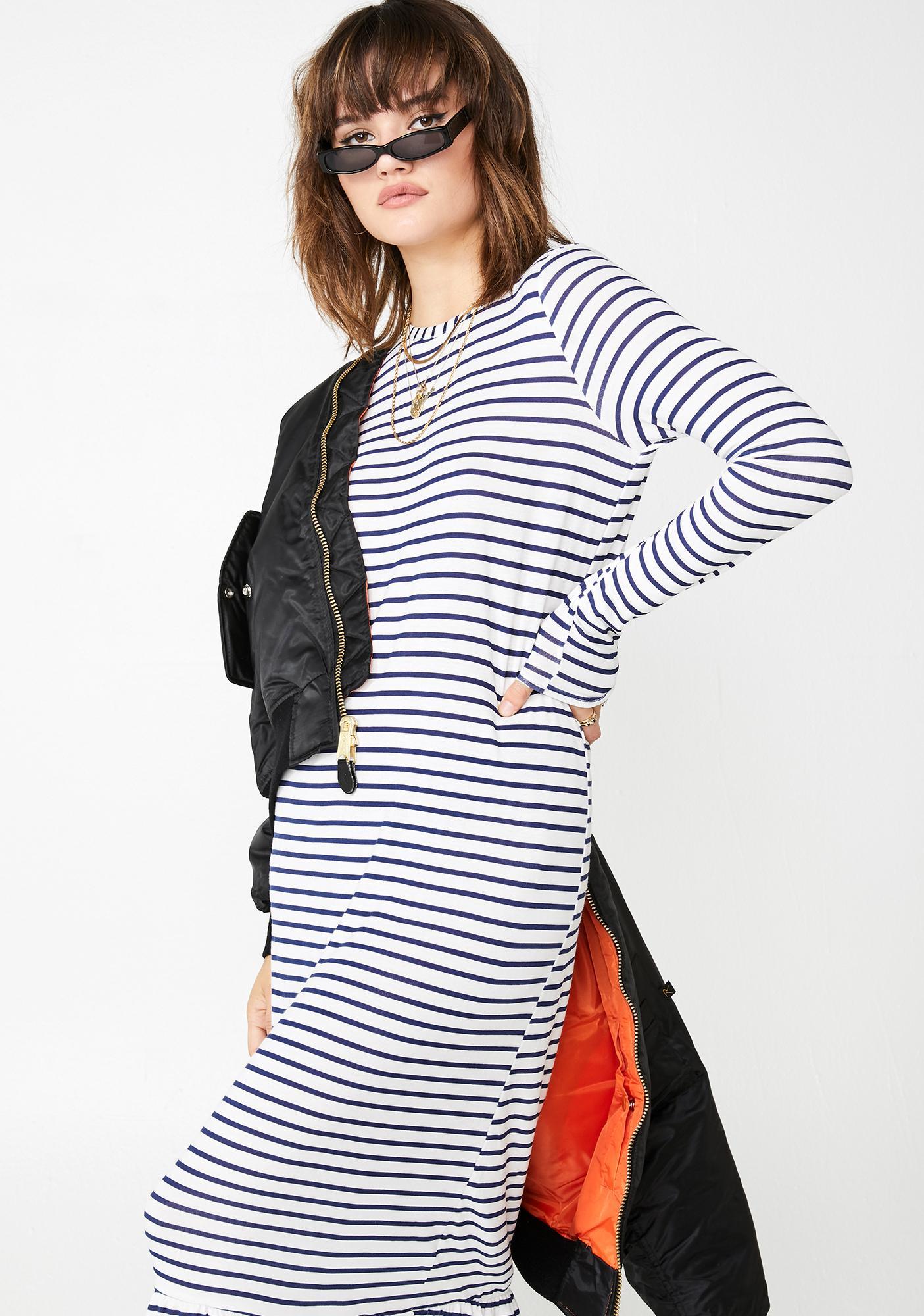 Daisy Street Striped Midi Shift Dress