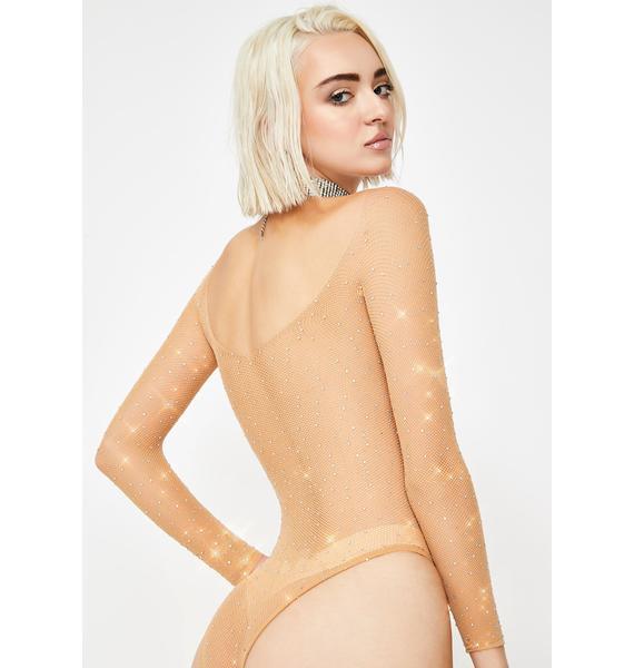 Nude Frozen Ice Rhinestone Fishnet Bodysuit