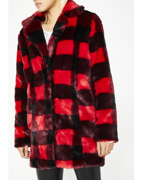 No Values Faux Fur Jacket