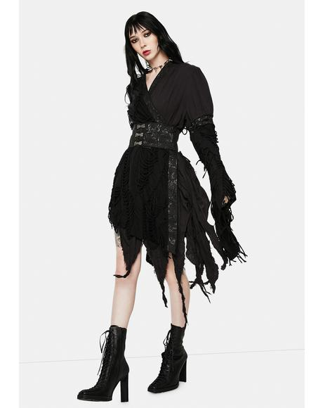 Gothic Asymmetric Wrap Dress