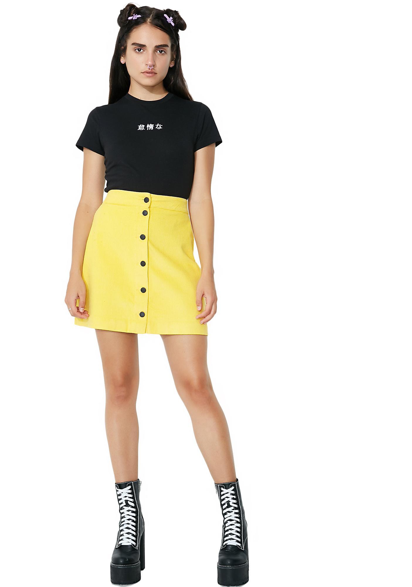 Lazy Oaf Moody Mustard Skirt