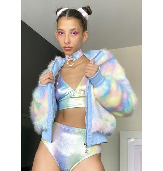 Sugar Thrillz Welcome To Wonderland Faux Fur Jacket
