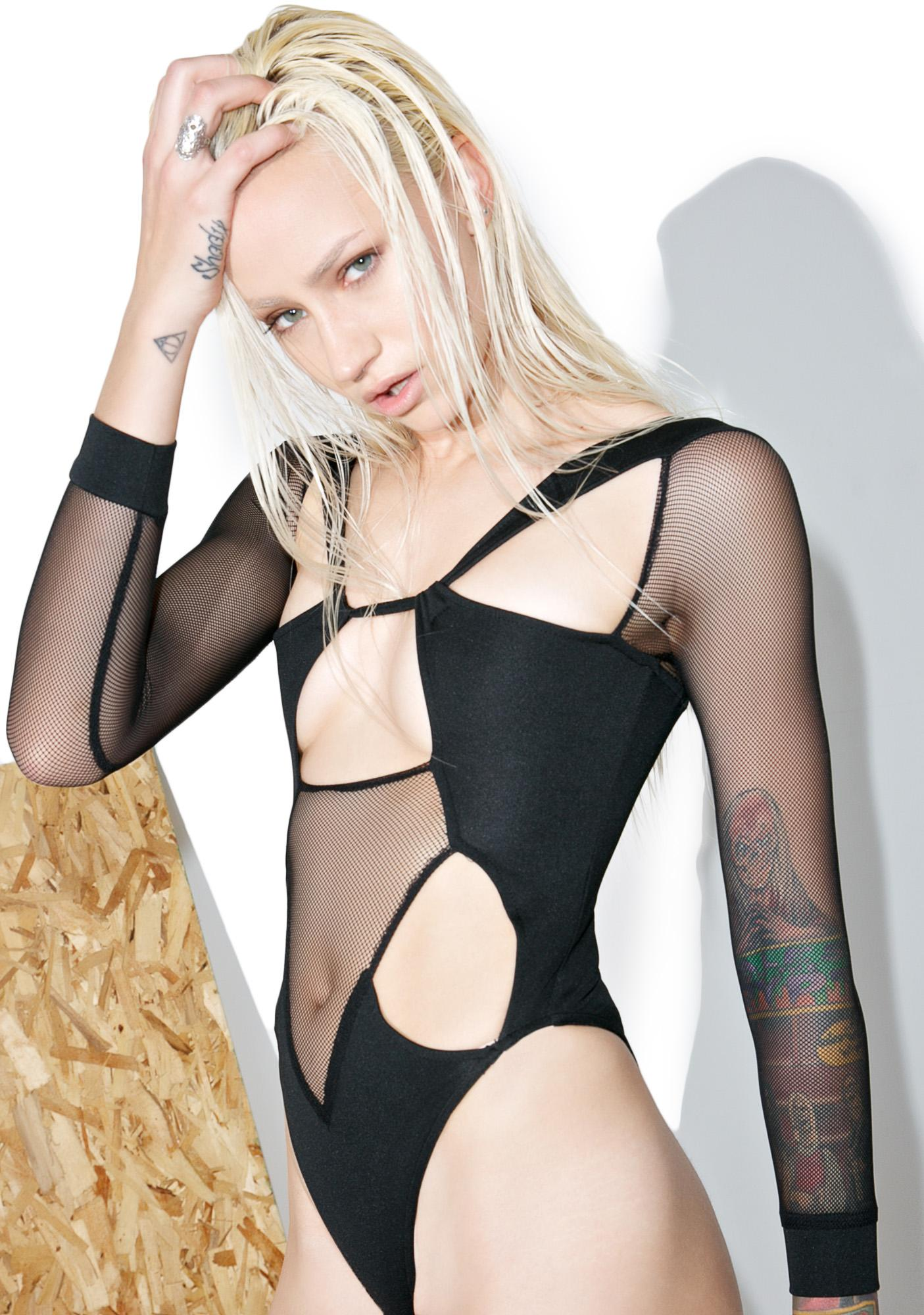 Shade London Black Mesh Cutout Bodysuit
