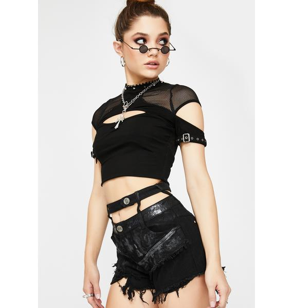 Devil Fashion Distressed Shorts With Waist Harness