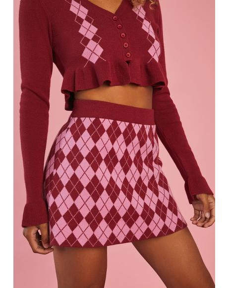 Morning Musings Argyle Mini Skirt