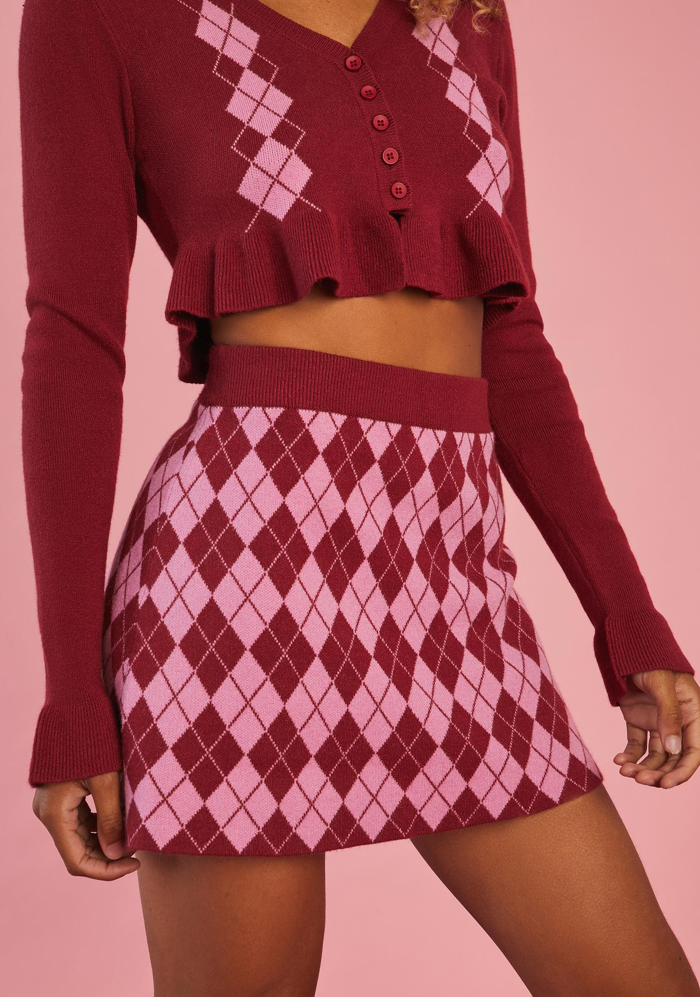 Sugar Thrillz Morning Musings Argyle Mini Skirt