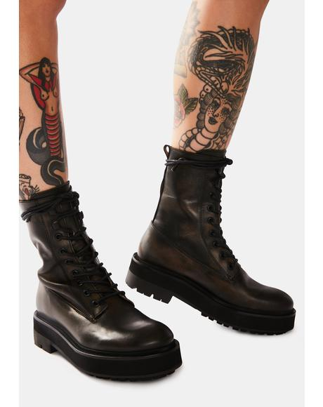 Collins Leather Combat Boots