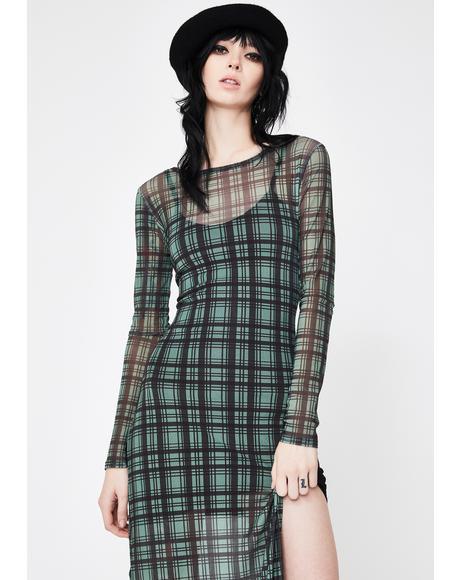 Check Print Mesh Dress
