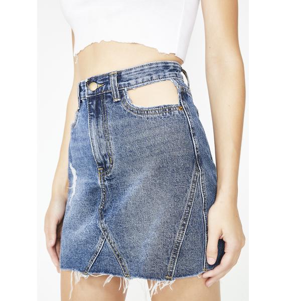 Momokrom Cut Out Pocket Denim Skirt