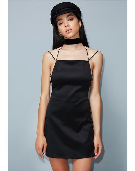 Straight Up Slay Satin Dress