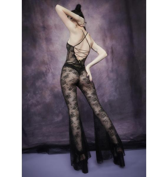 Widow After Midnight Lace Flare Leg Catsuit