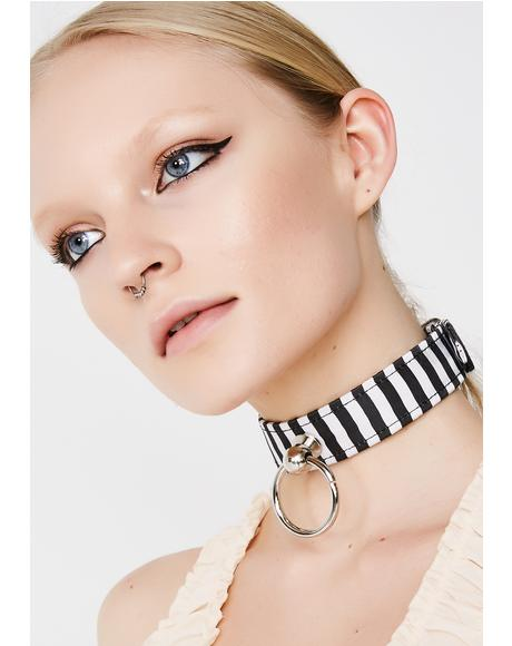 Cross The Line Striped Choker