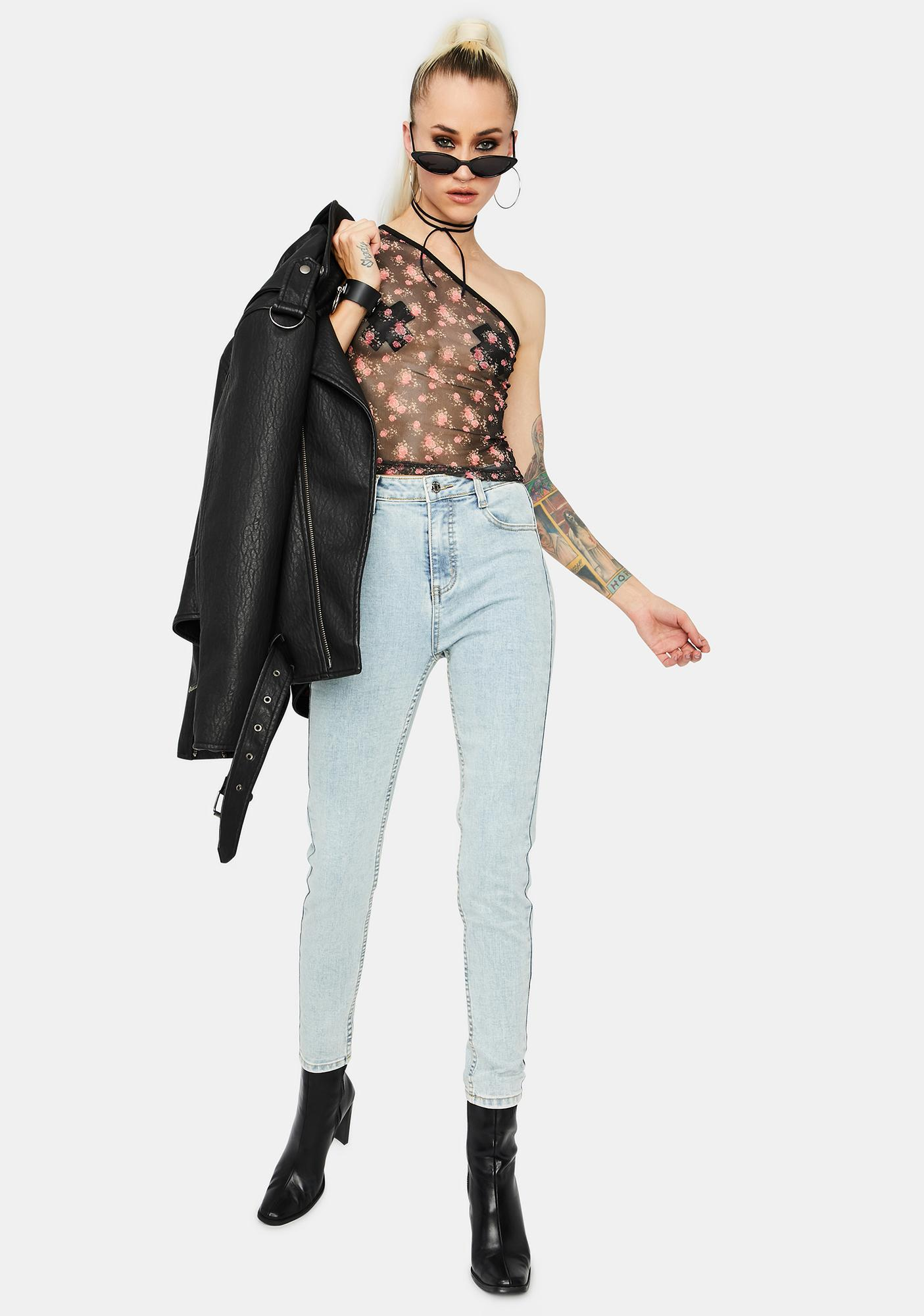 Night She's No Wallflower Mesh Crop Top