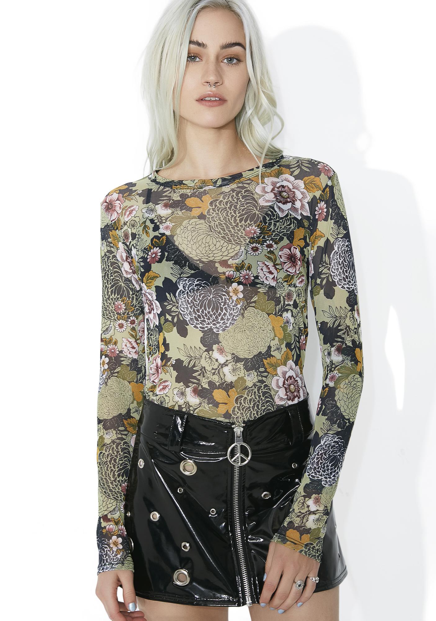 Sheer Mesh Floral Print Top