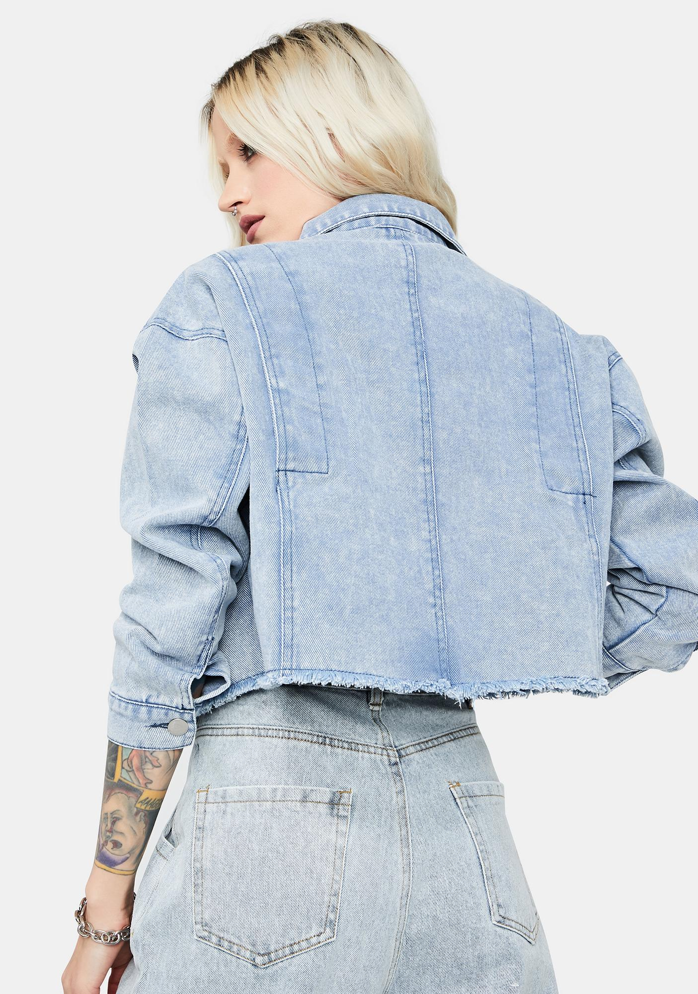 Ready For Action Crop Denim Jacket