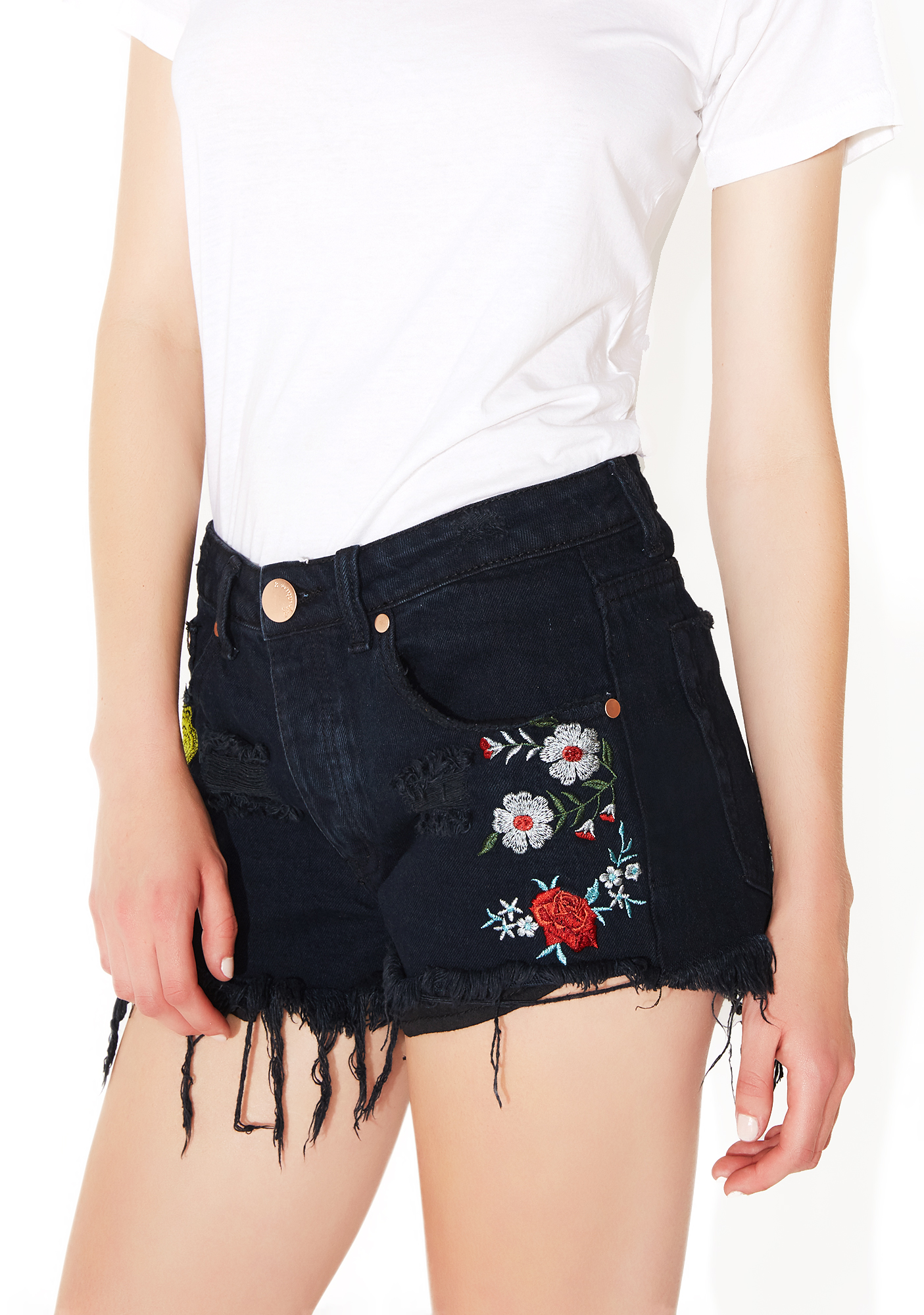 Floral Embroidered Boho Distressed Black Shorts
