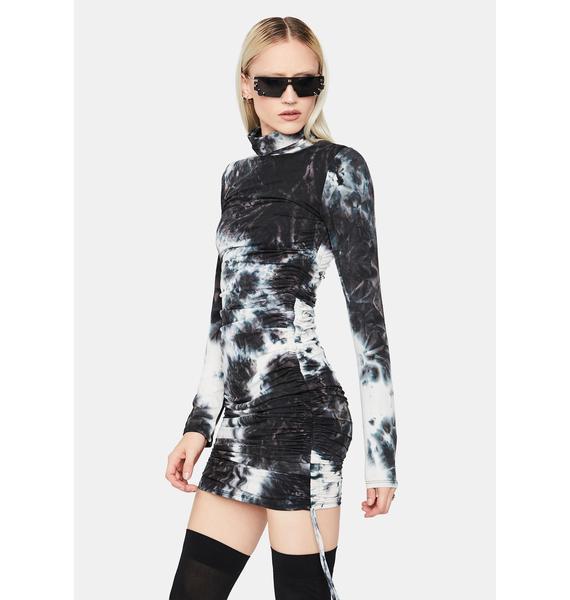 Night Next Level Vibe Tie Dye Ruched Mini Dress