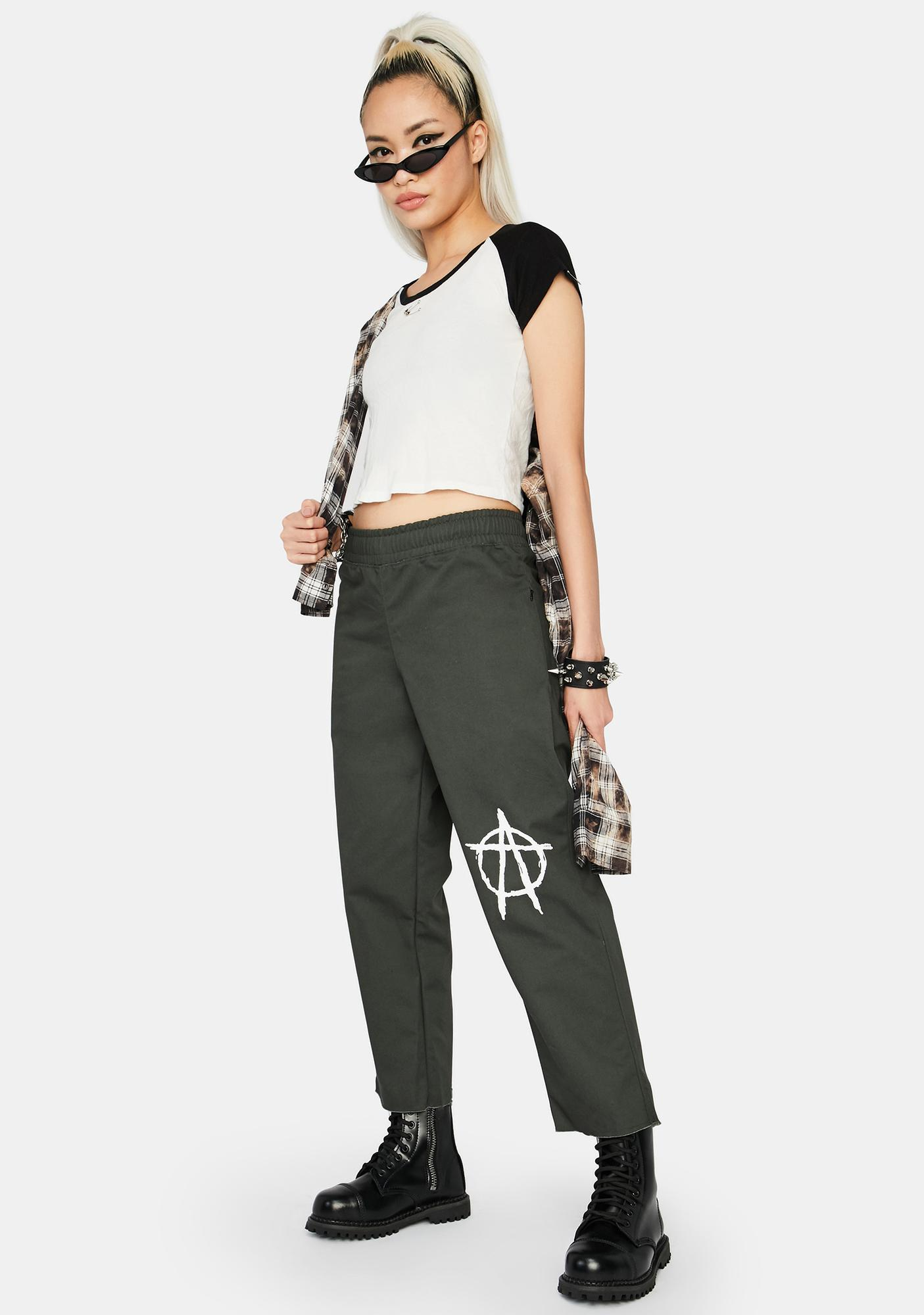 Learn To Forget  Green Anarchy Logo Chino Pants