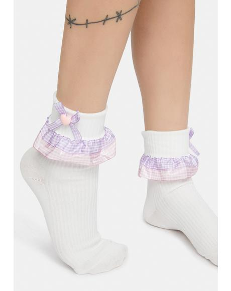 Lavender Meadow Melody Gingham Ruffle Ankle Socks