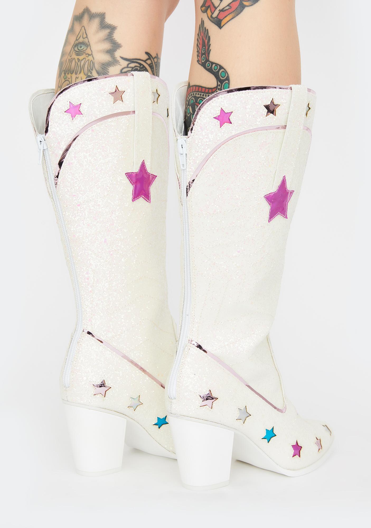 Y.R.U. Space Cowgirl Glitter Boots