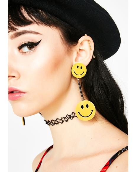 Call Me Smiley Face Earrings