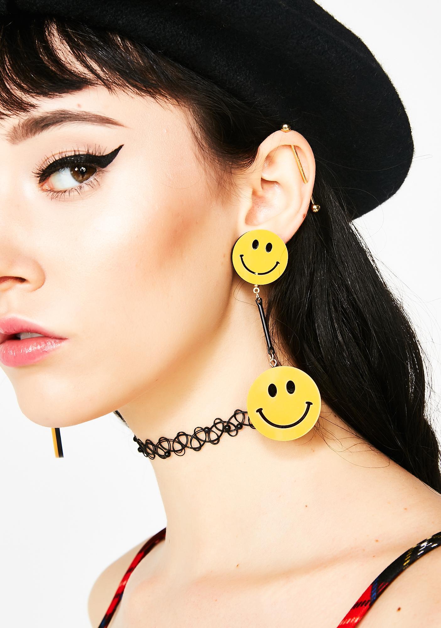 Call Me Smiley Face Earrings