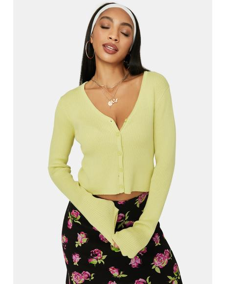 Sage Find Paradise Ribbed V-Neck Cardigan