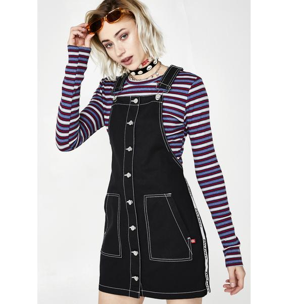 Dickies Girl Button Overall Side Stripe Dress