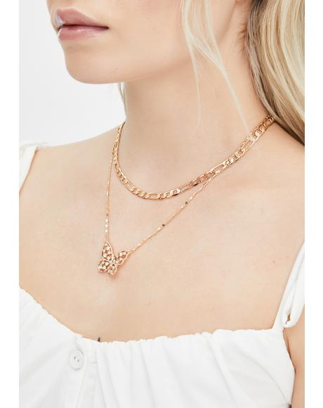 Precious Rough Flight Butterfly Necklace
