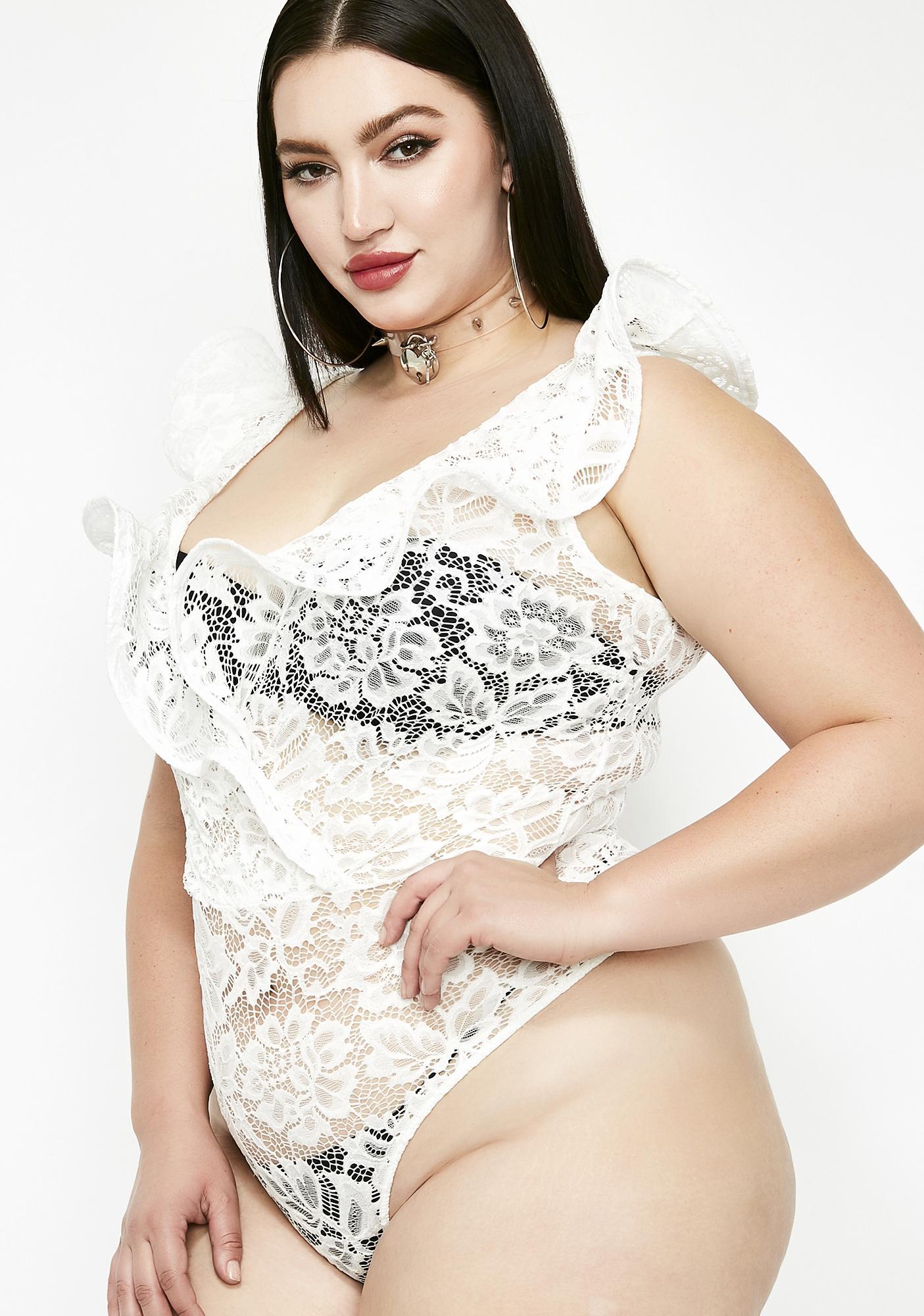 9920c1fbe8 Plus Size Lace Ruffle Wrap Bodysuit