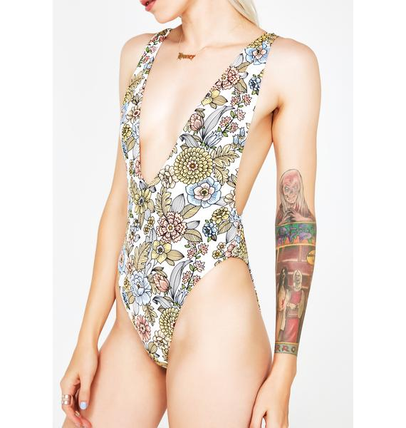 Floral Toxic Fantasy Deep V One Piece