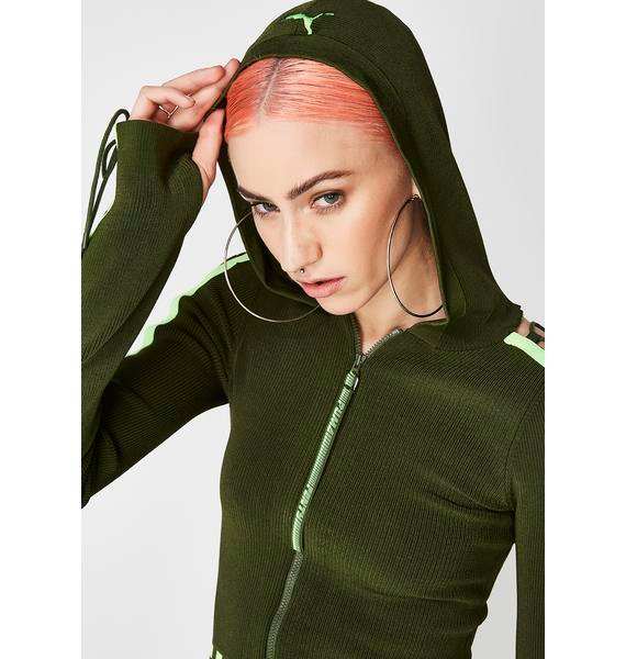 PUMA FENTY PUMA By Rihanna Laced Sleeve Sweater Zip Hoodie