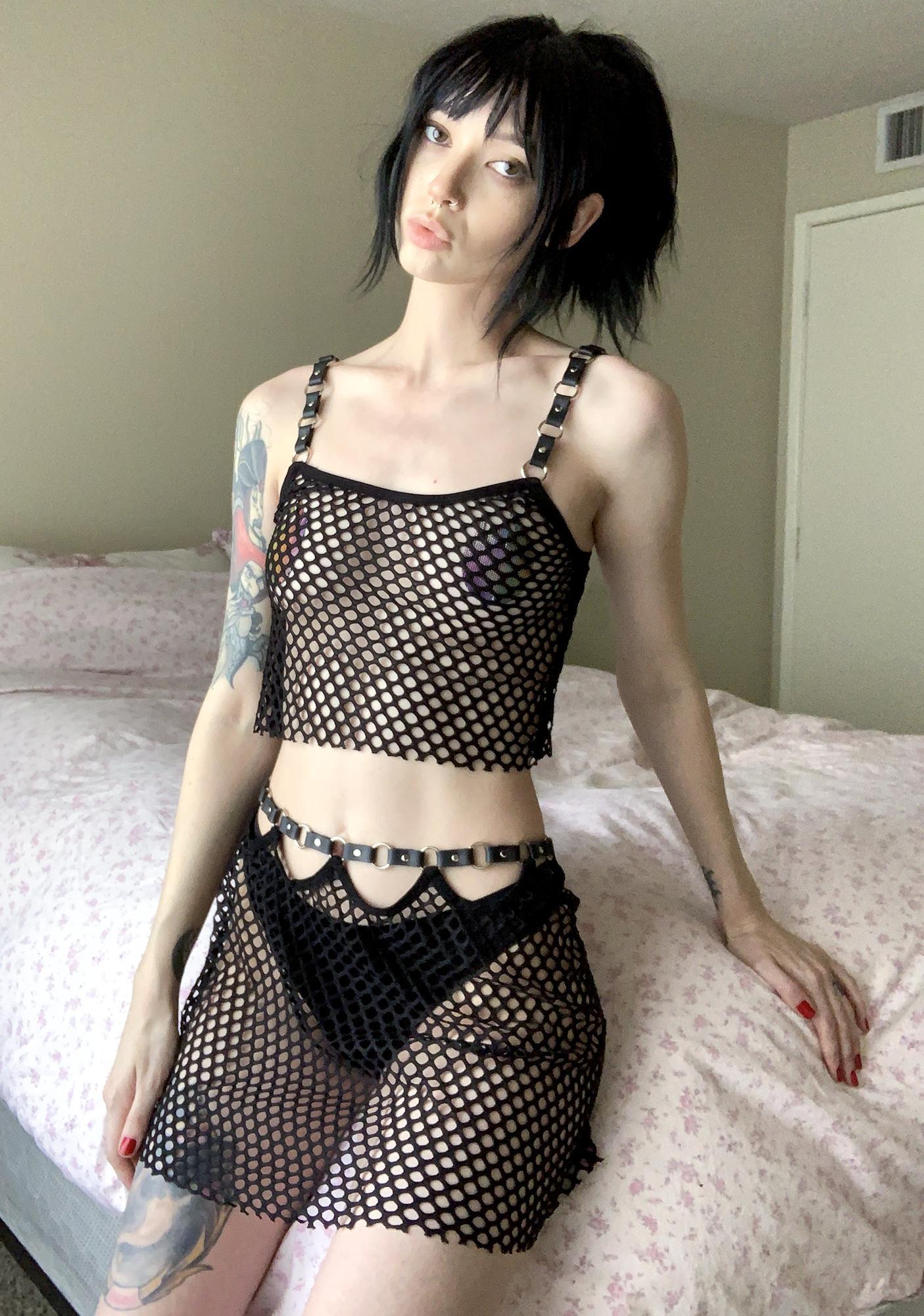 Current Mood Freak Like Me Fishnet Skirt