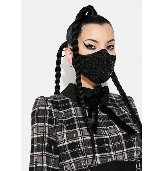Punk Rave Black Applique Face Mask
