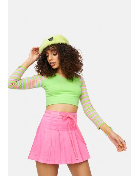 Got The Funk Striped Raglan Crop Top