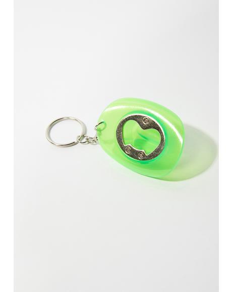 Green Glow In The Dark Cowboy Hat Bottle Opener Keychain