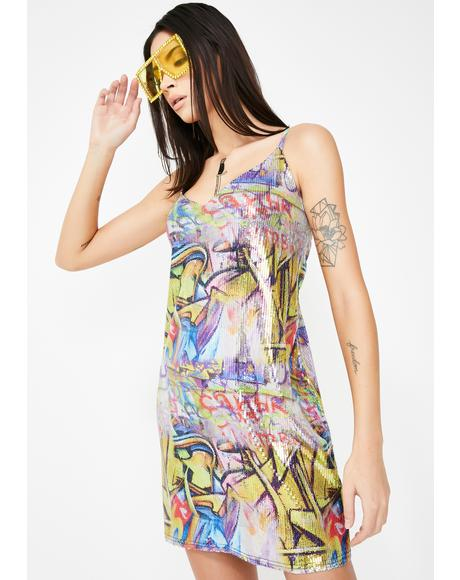 Graffiti Sequin Dress