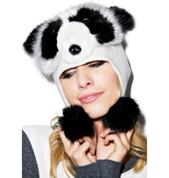 Sad Panda Pom Pom Hat