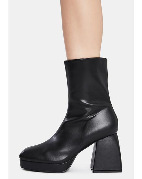Black Imagine Chunky Heel Ankle Boots