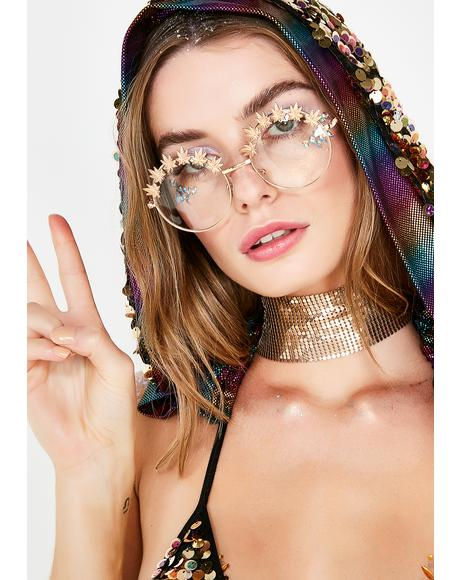 Weed Leaf Embellished Glasses
