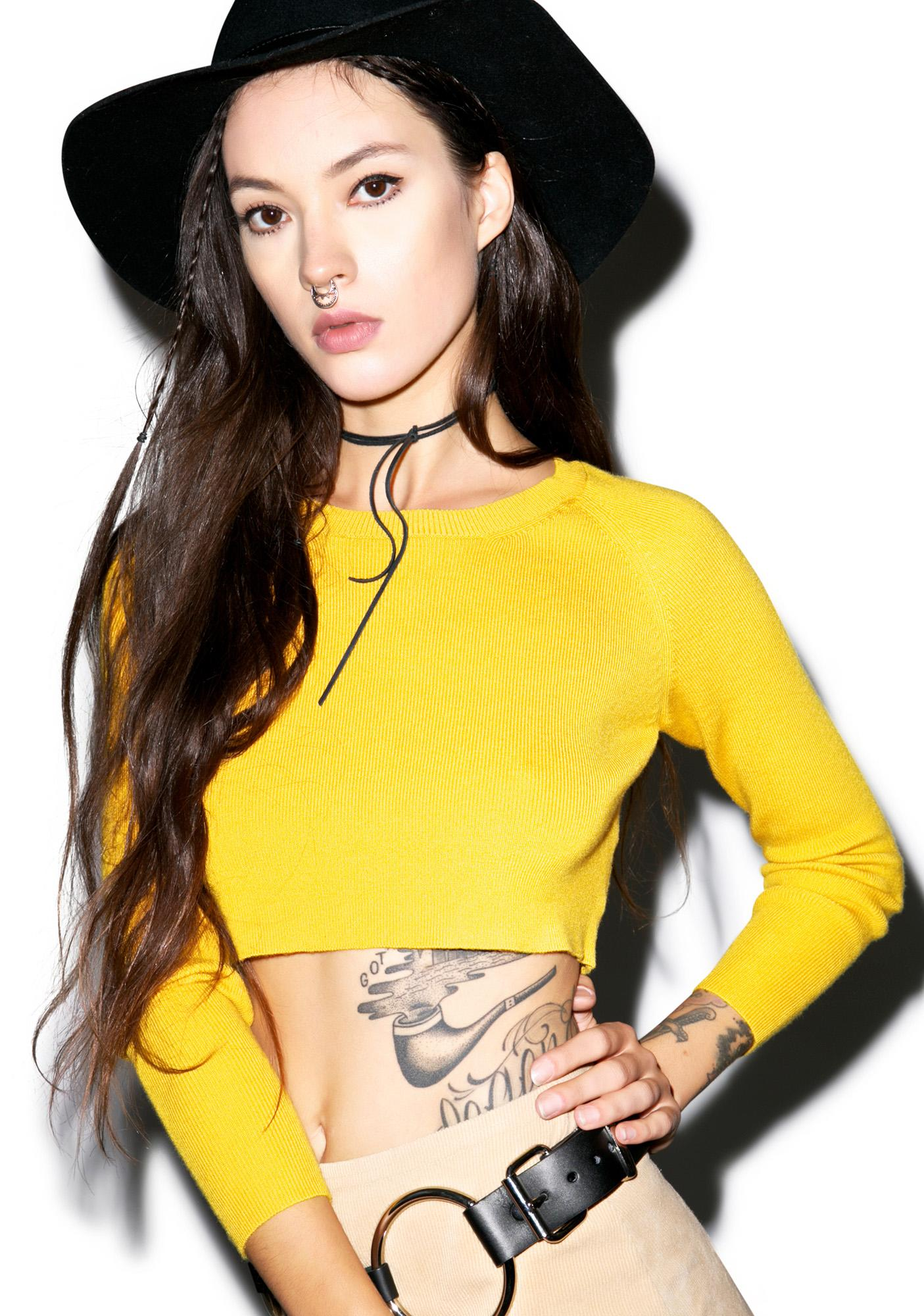 Glamorous Banana Boat Crop Long Sleeve Shirt
