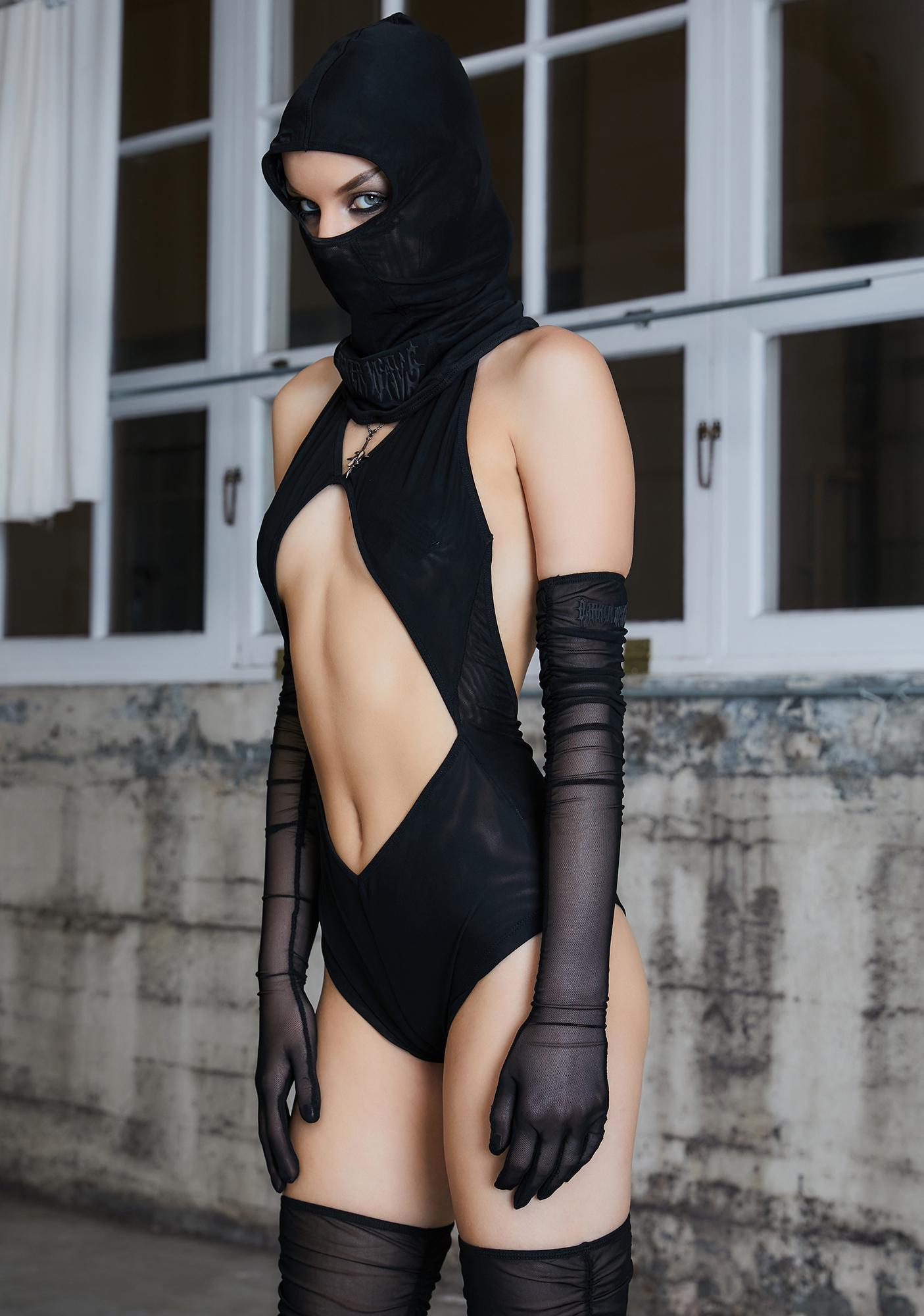 DARKER WAVS Kickdrum Hooded Cut-Out Bodysuit