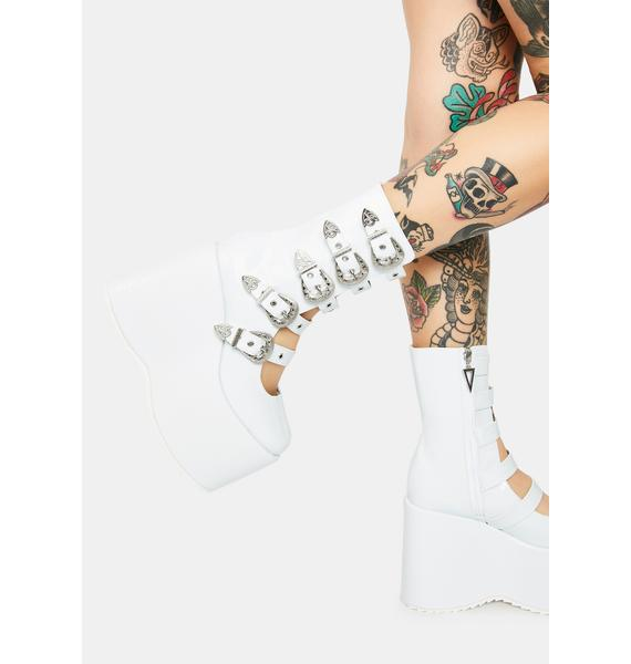 Ellie Shoes High N Mighty Buckle Strap Platforms