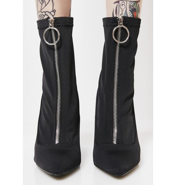 Public Desire Sceptic Zip Front Lycra Ankle Boots