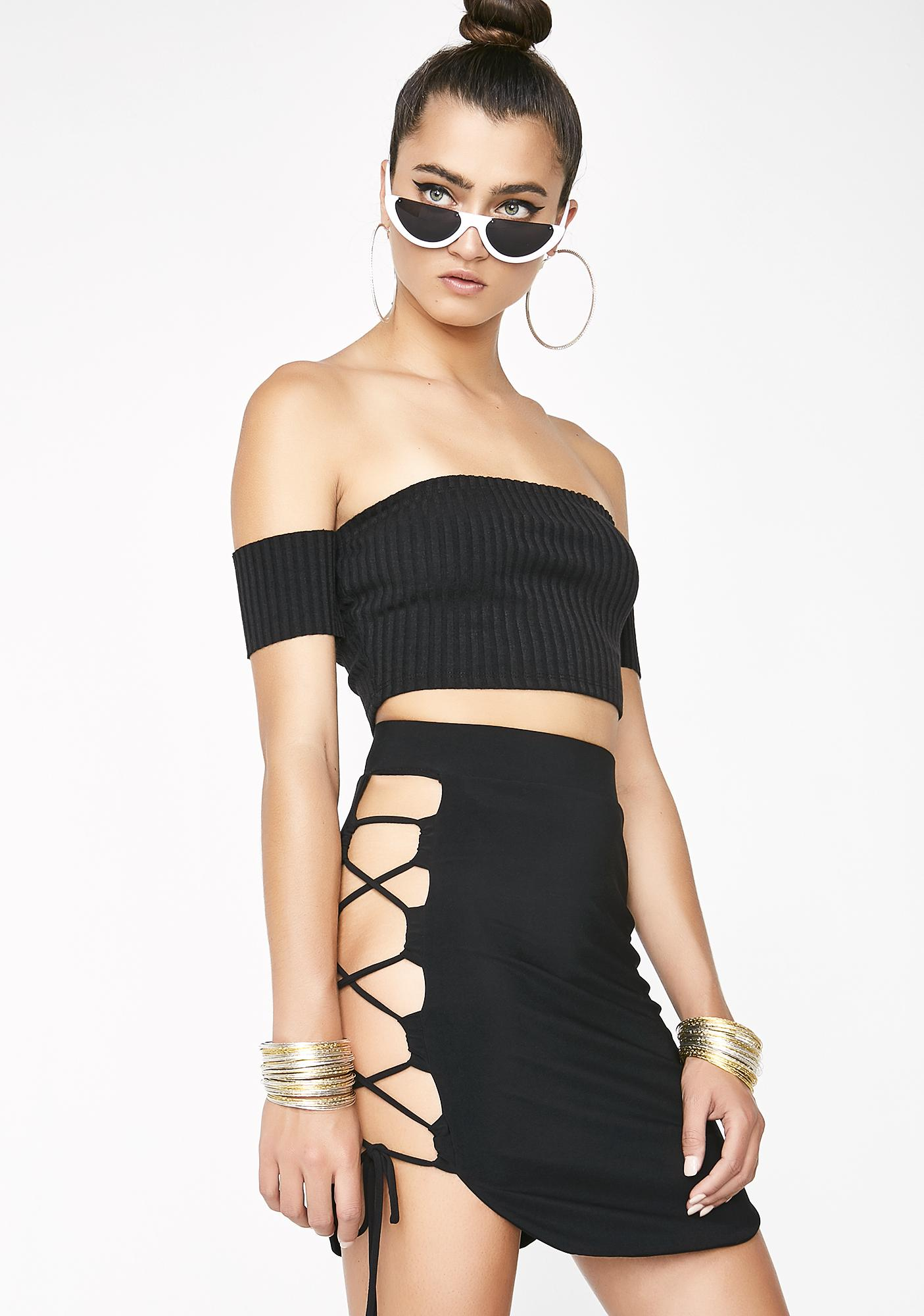 Onyx Got Ur Attention Lace-Up Skirt