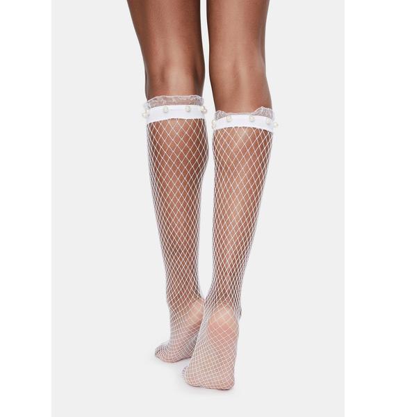 MeMoi White Pearl Ruffle Cuff Fishnet Socks